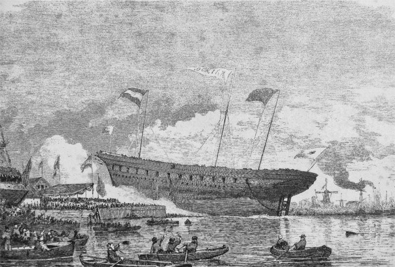 """""""Launch of Kayo Maru in Dordrech 1865"""" by Anonymous Dutch print 1865 - """"Bridging the Divide"""" Leonard Blusse p.183"""