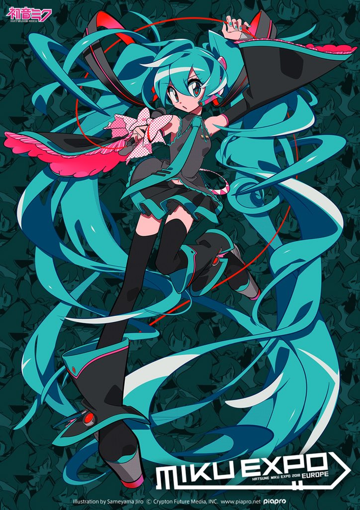 HATSUNE MIKU EXPO 2018 Europe tour flyer | Art by Sameyama Jiro | Hatsune Miku © Crypton Future Media, INC.