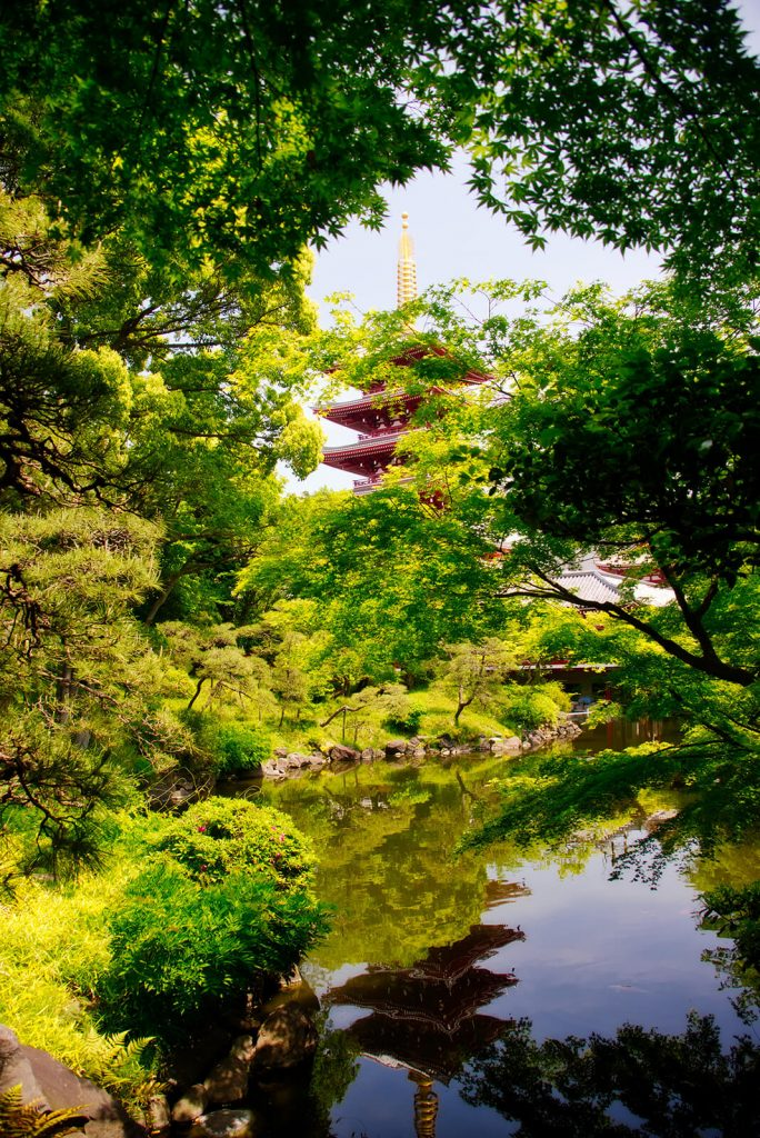 Reflection of one of the pagoda's of Asakusa reflected in the water of the Denboin Gardens