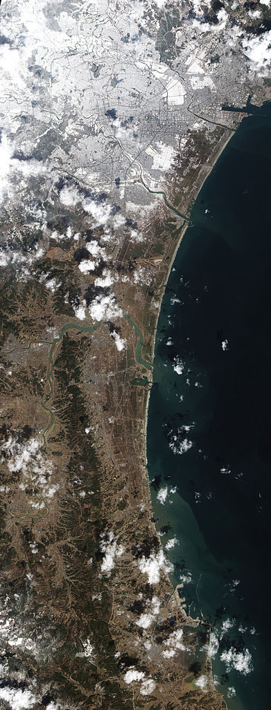 Natural-colour image of the agricultural fields between the Japanese city of Sendai and Sendai Bay. Jesse Allen and Robert Simmon - NASA Earth Observatory Image captured by the Advanced Land Imager (ALI) on NASA's Earth Observing-1 (EO-1) satellite.