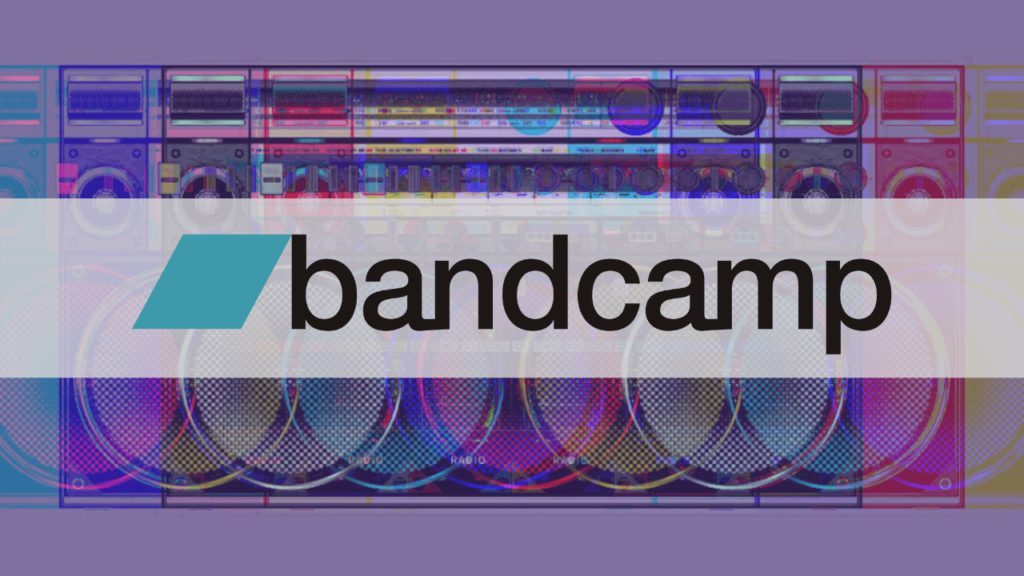 Bandcamp logo on top of a radio, edited in a way that there was a glitch. The result is that there are more radio's in the image. With added filters it is made colourful with the added colours of red, blue and green and mixes of that.