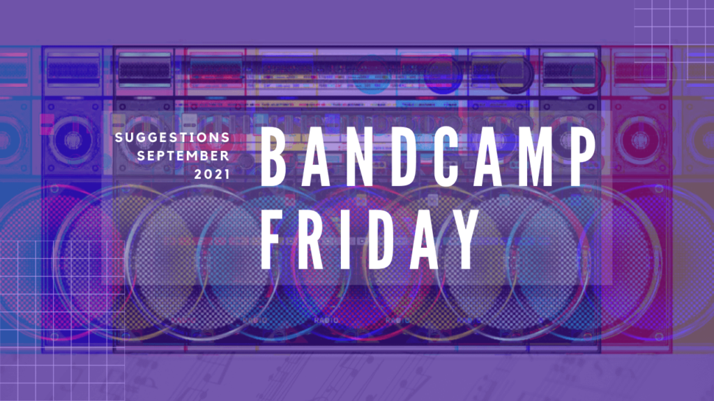"""Text of """"Bandcamp Friday"""" and """"Suggestions September 2021"""" on top of a radio, edited in a way that there was a glitch. The result is that there are more radio's in the image. With added filters it is made colourful with the added colours of red, blue and green and mixes of that."""